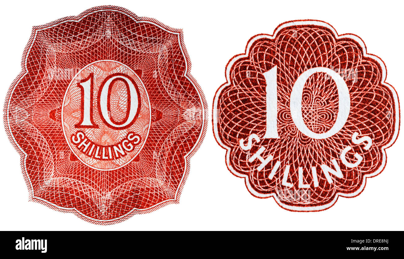 Number 10 from 10 Shillings banknotes, UK, 1955 and 1962 - Stock Image