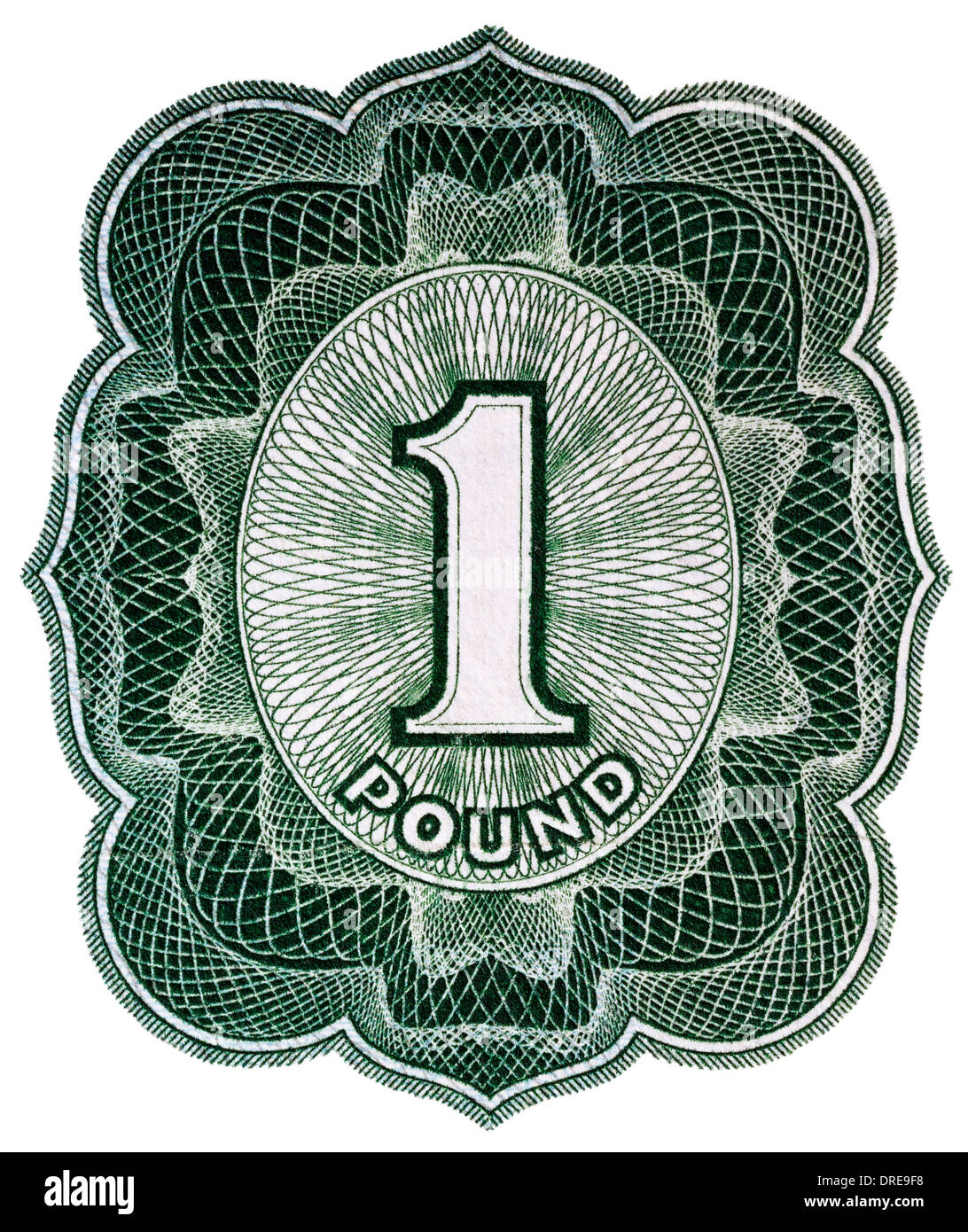 Number 1 from 1 Pound banknote, UK, 1955 - Stock Image