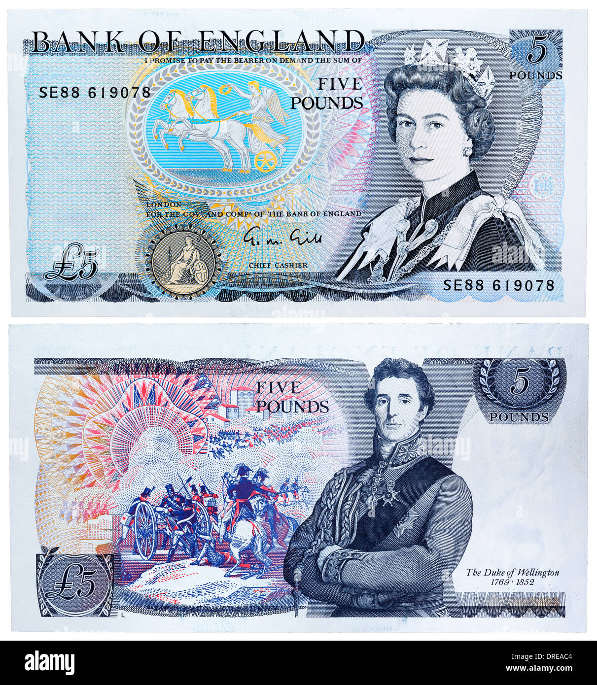5 Pounds banknote, Queen Elizabeth II and Duke of Wellington, UK, 1988 - Stock Image