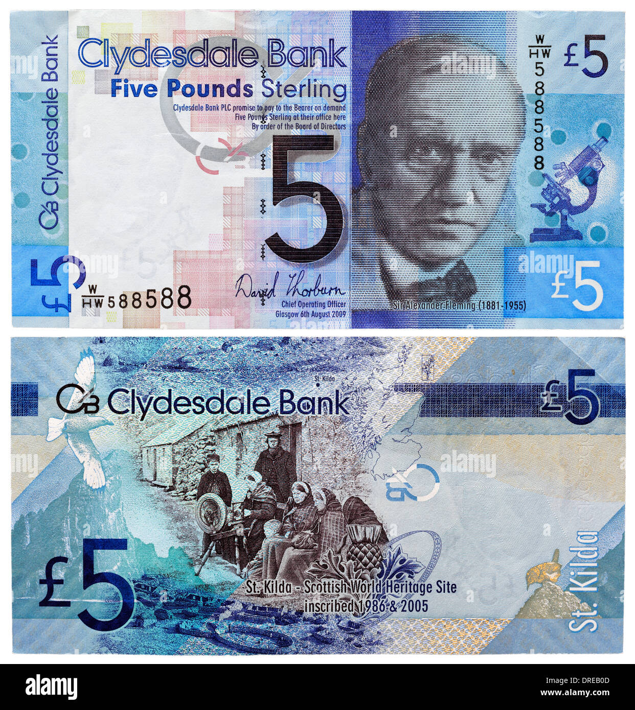 5 Pounds banknote, Sir Alexander Flemming and St. Kilda, Scotland, 2009 - Stock Image