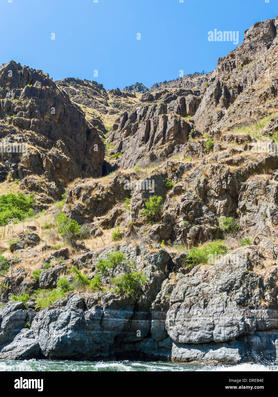 Scenery in Hells Canyon, on the Snake River, forming the border between Idaho and Oregon, USA. - Stock Image