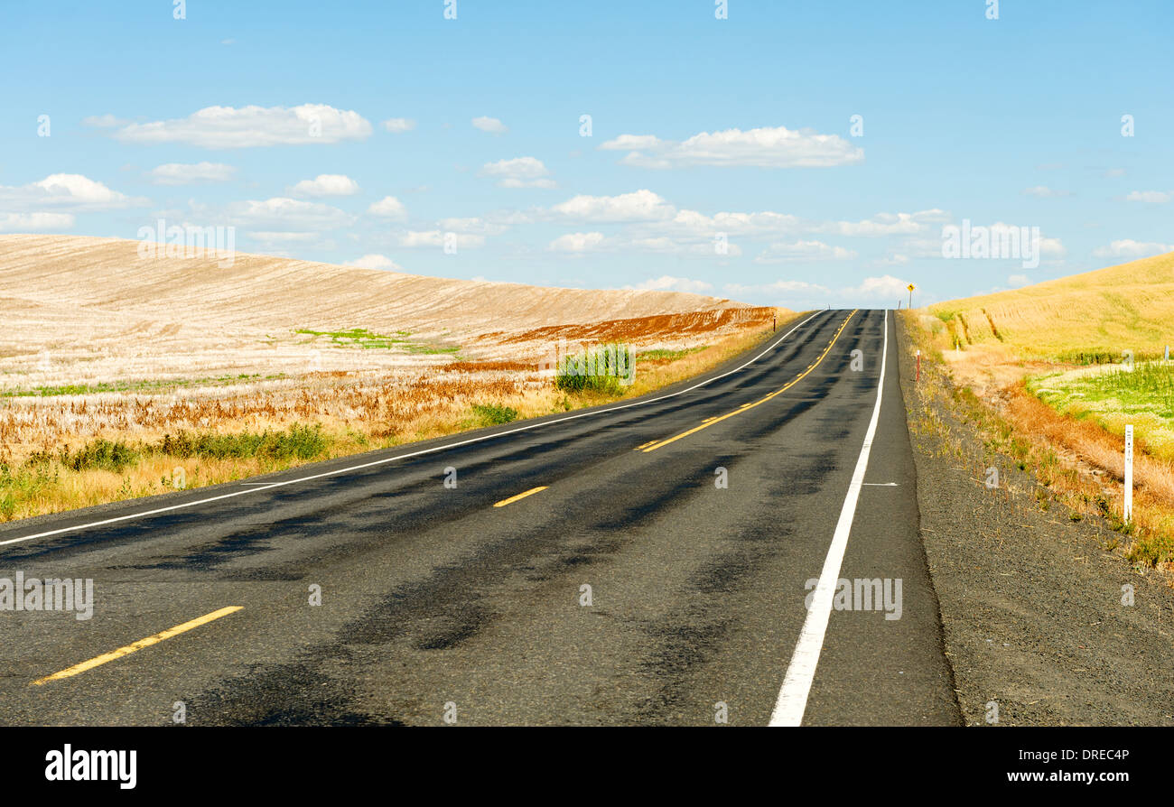Country road in the Palouse Hills of Whitman County, Washington State, USA. Stock Photo