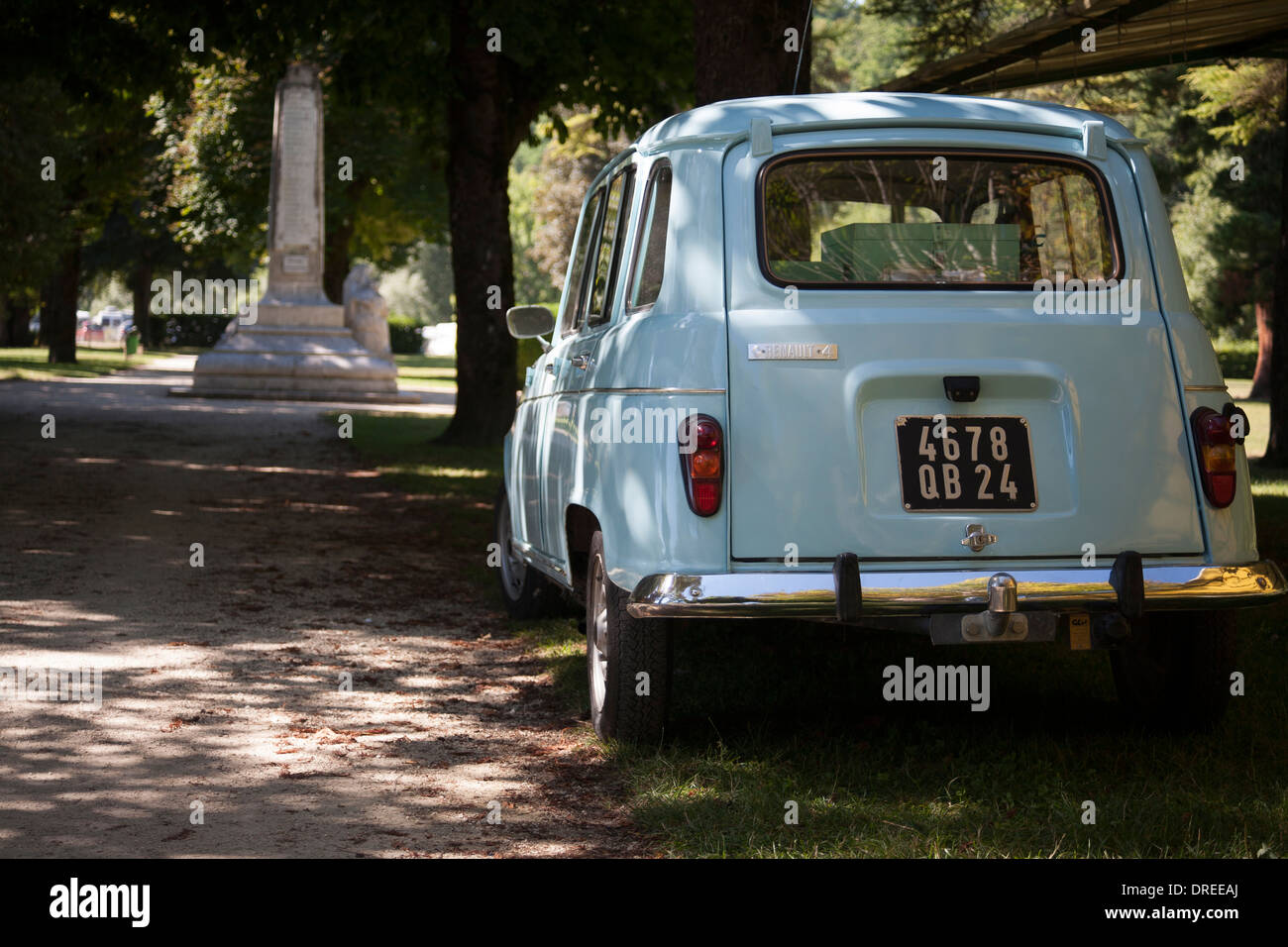 Rear View Of Pale Blue Vintage French Renault 4 Car In A Park In Stock Photo Alamy