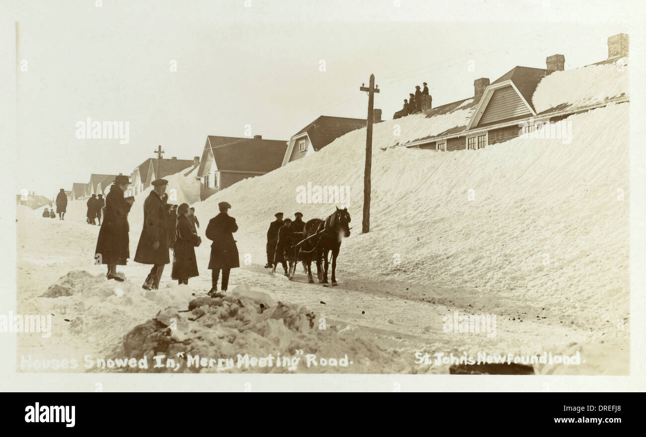 St. Johns - Newfoundland - Houses Snowed in - Stock Image