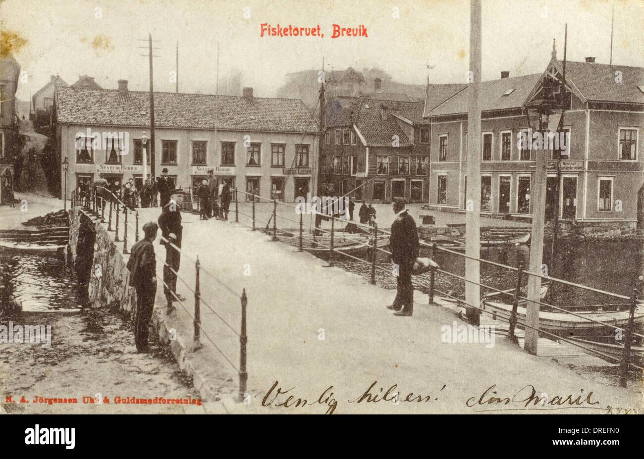 Fishmarket in Brevik - Norway Stock Photo