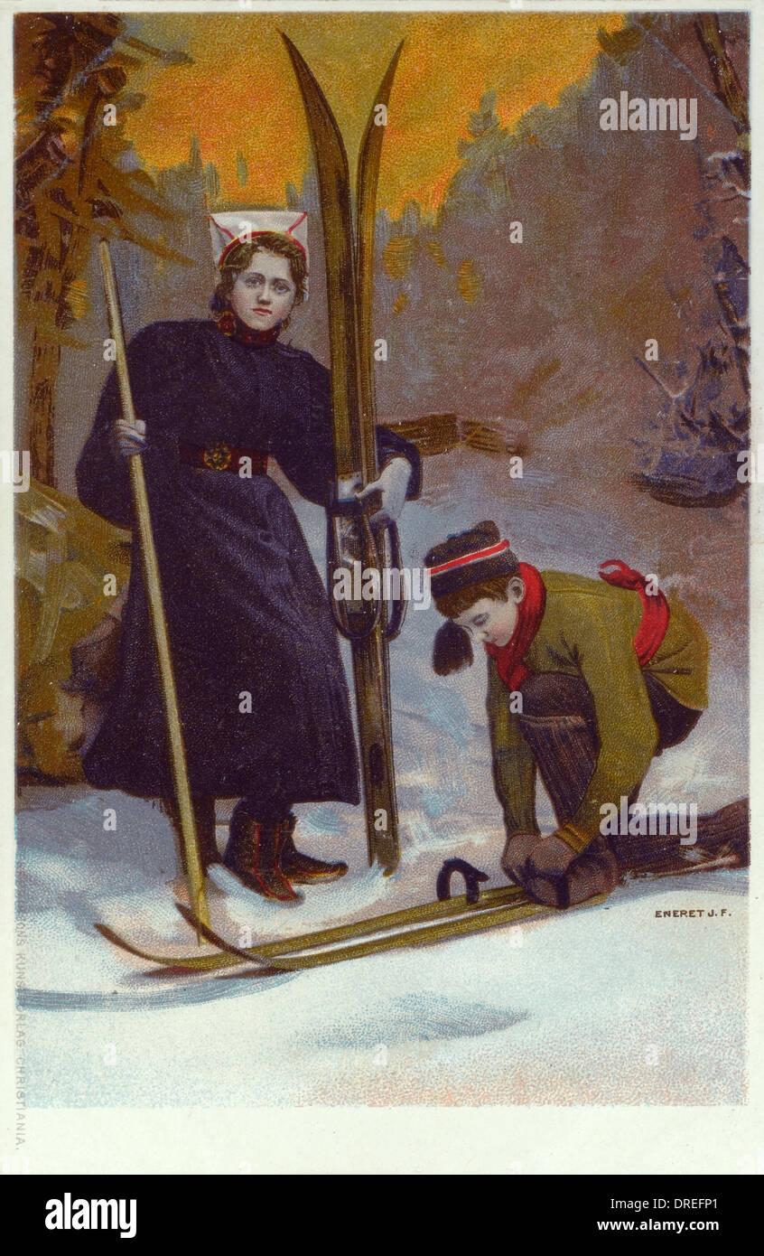 Norwegian Types (4/5) - Putting on skis Stock Photo