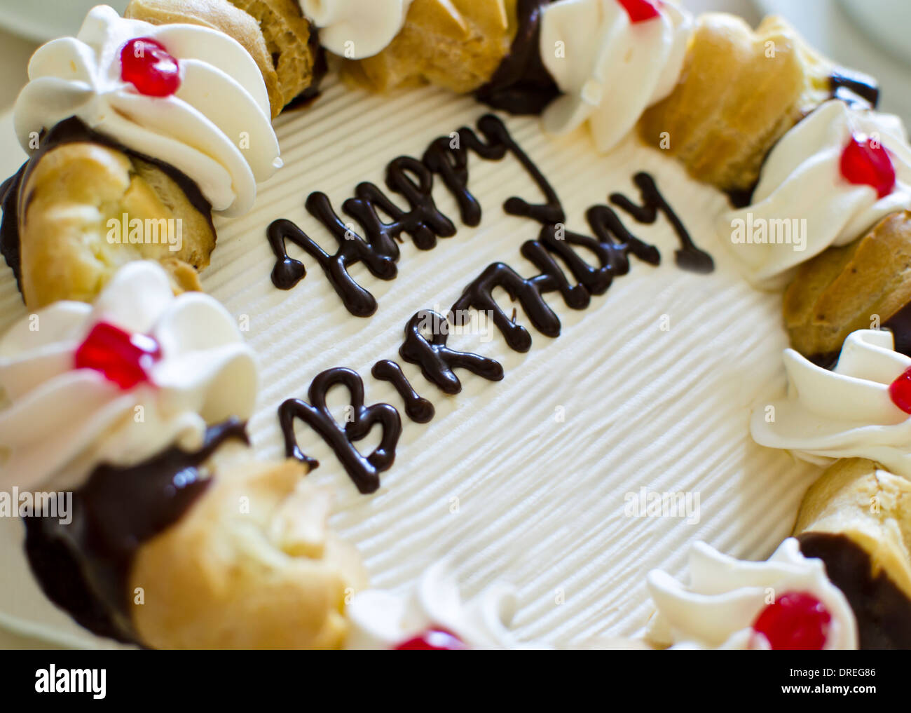 Awesome Fancy Birthday Cake With Pastries And Happy Birthday Written On Funny Birthday Cards Online Aboleapandamsfinfo