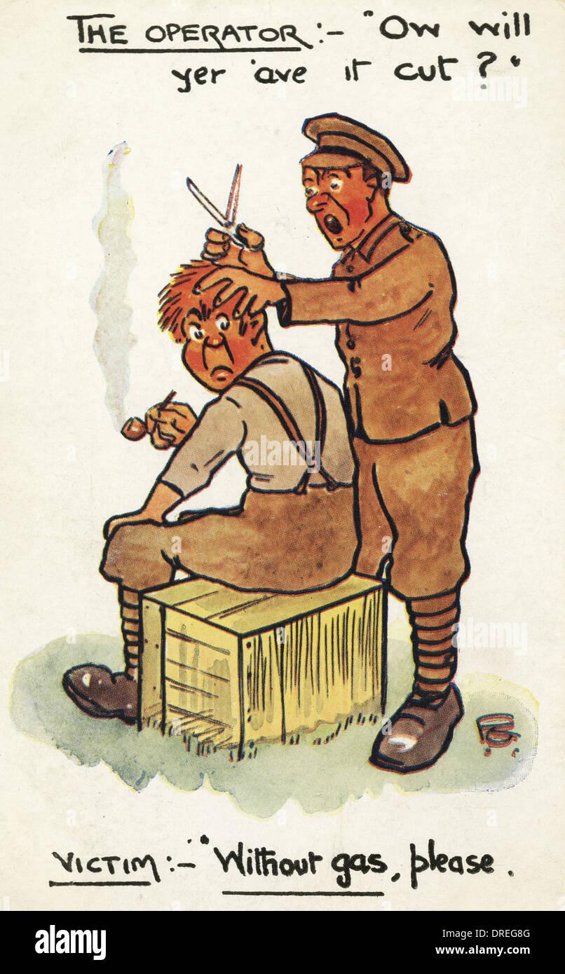 Cartoon - WWI - Haircut - Stock Image