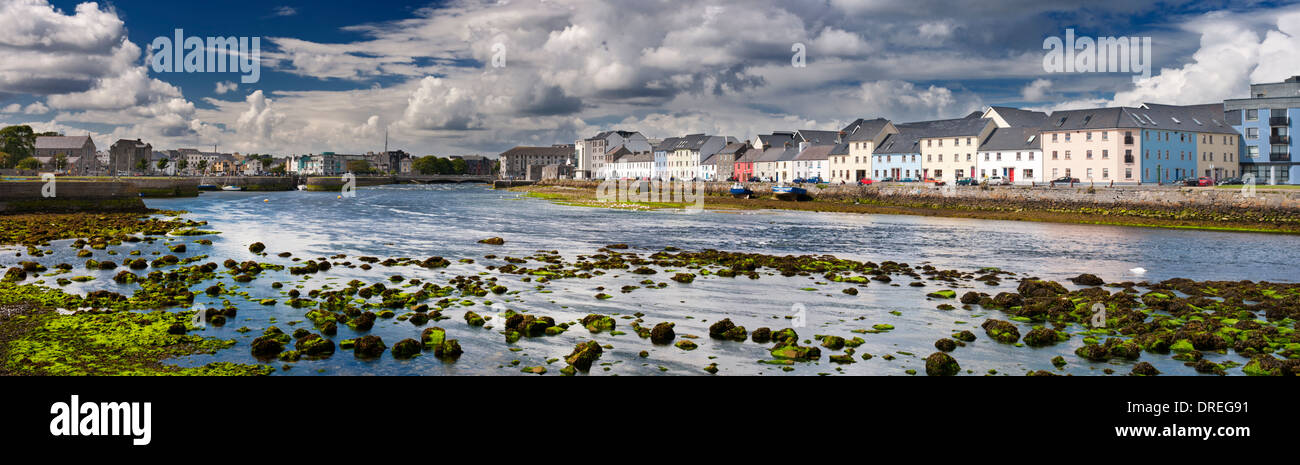 Panorama of the Corrib River flowing through the Claddagh and Spanish Arch areas of Galway City, Ireland - Stock Image