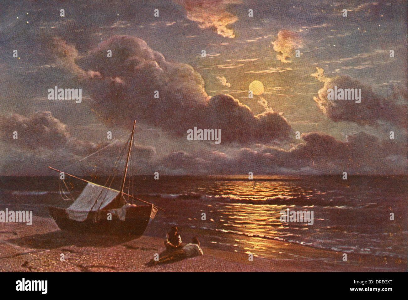 Moonrise over the Black Sea, Crimea, Russia - Stock Image