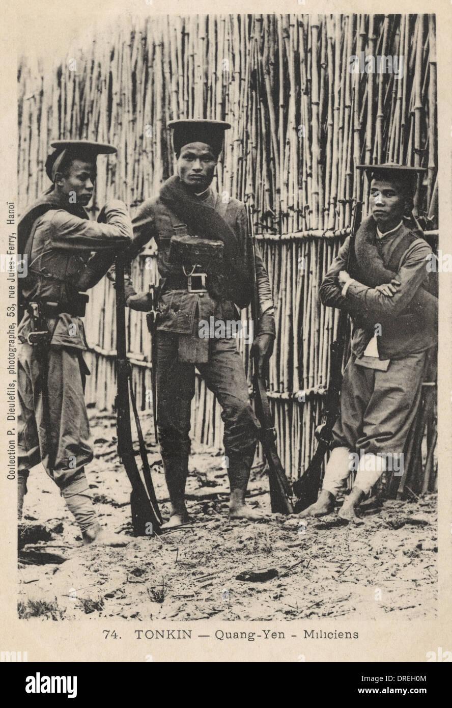 Tonkin, North Vietnam - Quang Yen - Militia - Stock Image
