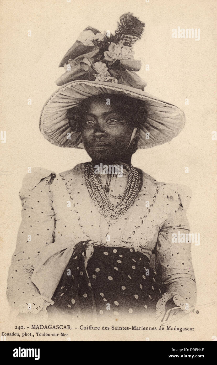Madagascar - St Mary Island - Lady in finest clothes - Stock Image