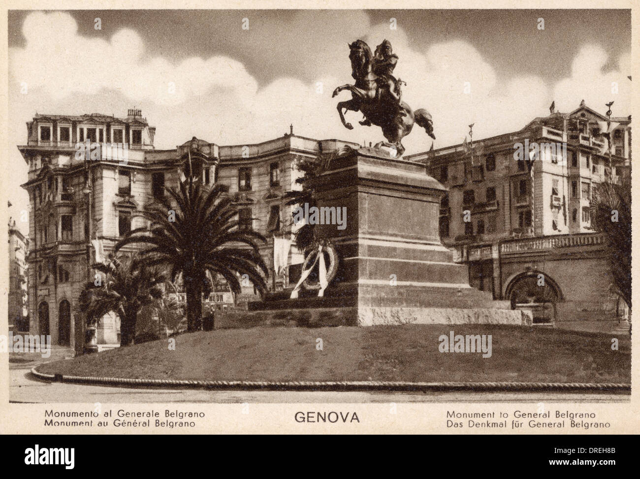 Genoa, Italy - Monument to General Belgrano - Stock Image