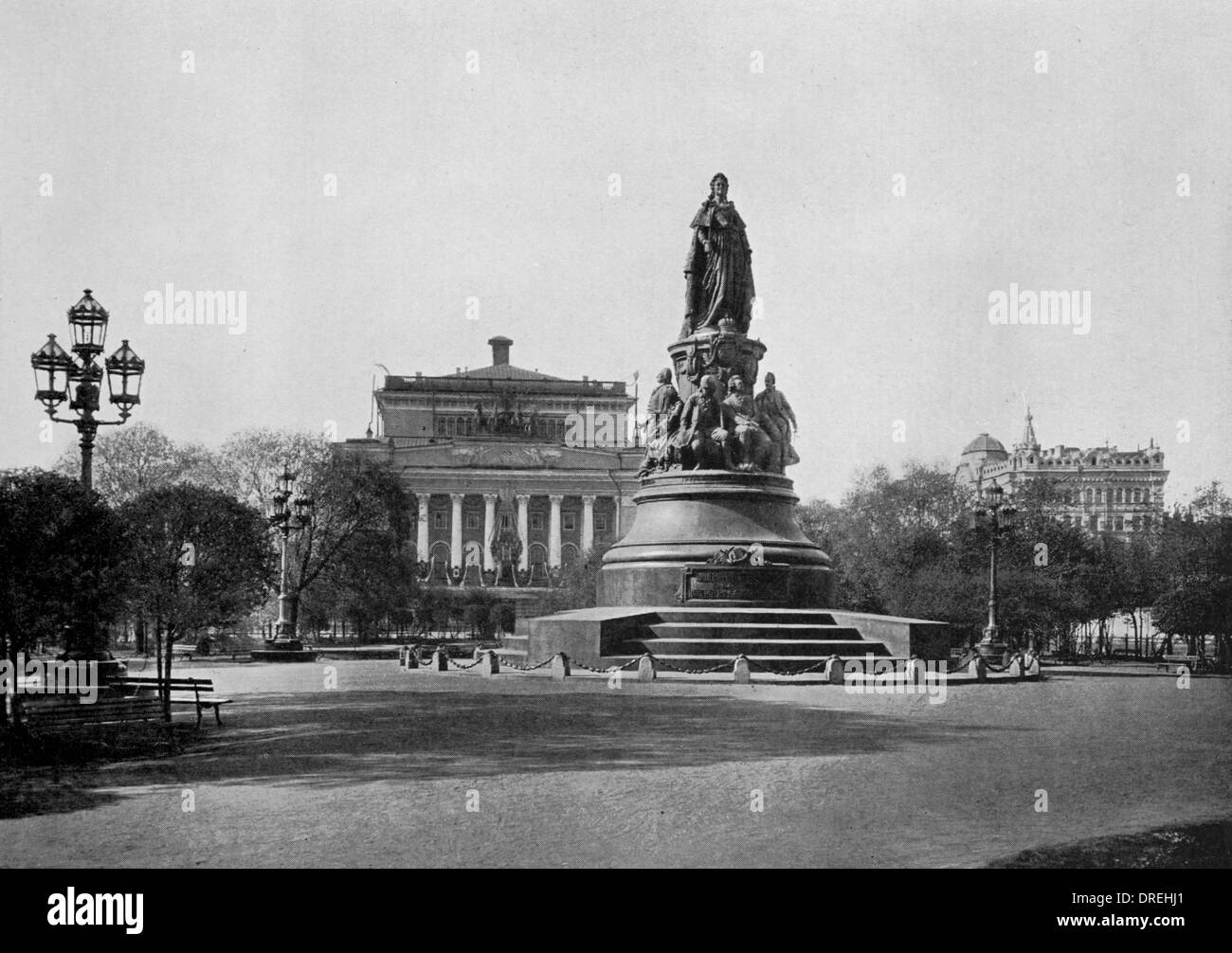 Catherine the Great Monument, St Petersburg, Russia - Stock Image
