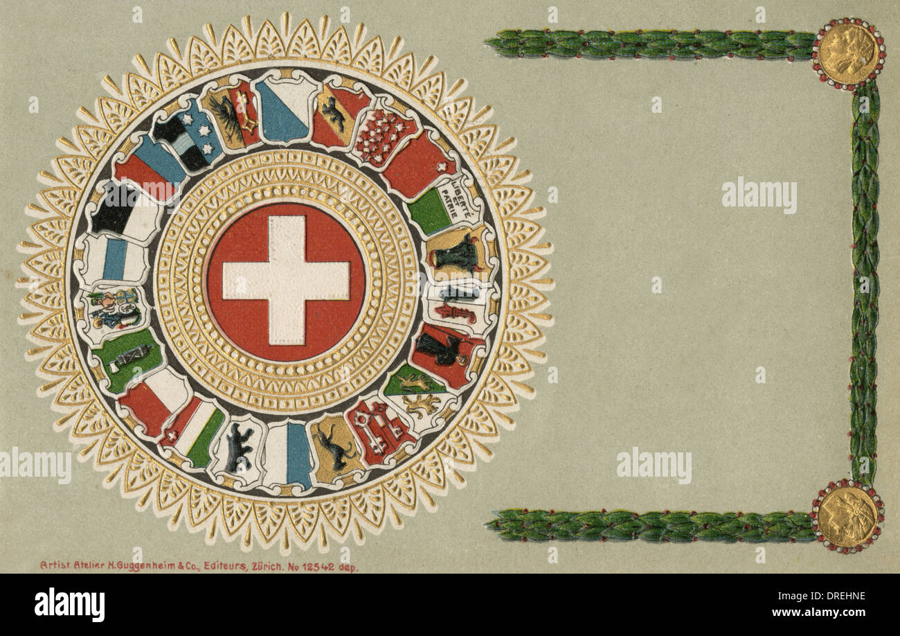 The Swiss Canton Shields - Stock Image