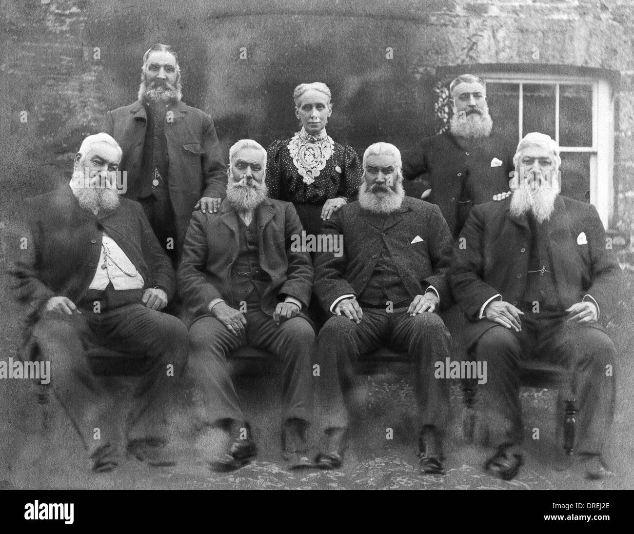 Elizabeth Gatley and her bearded brothers - Stock Image