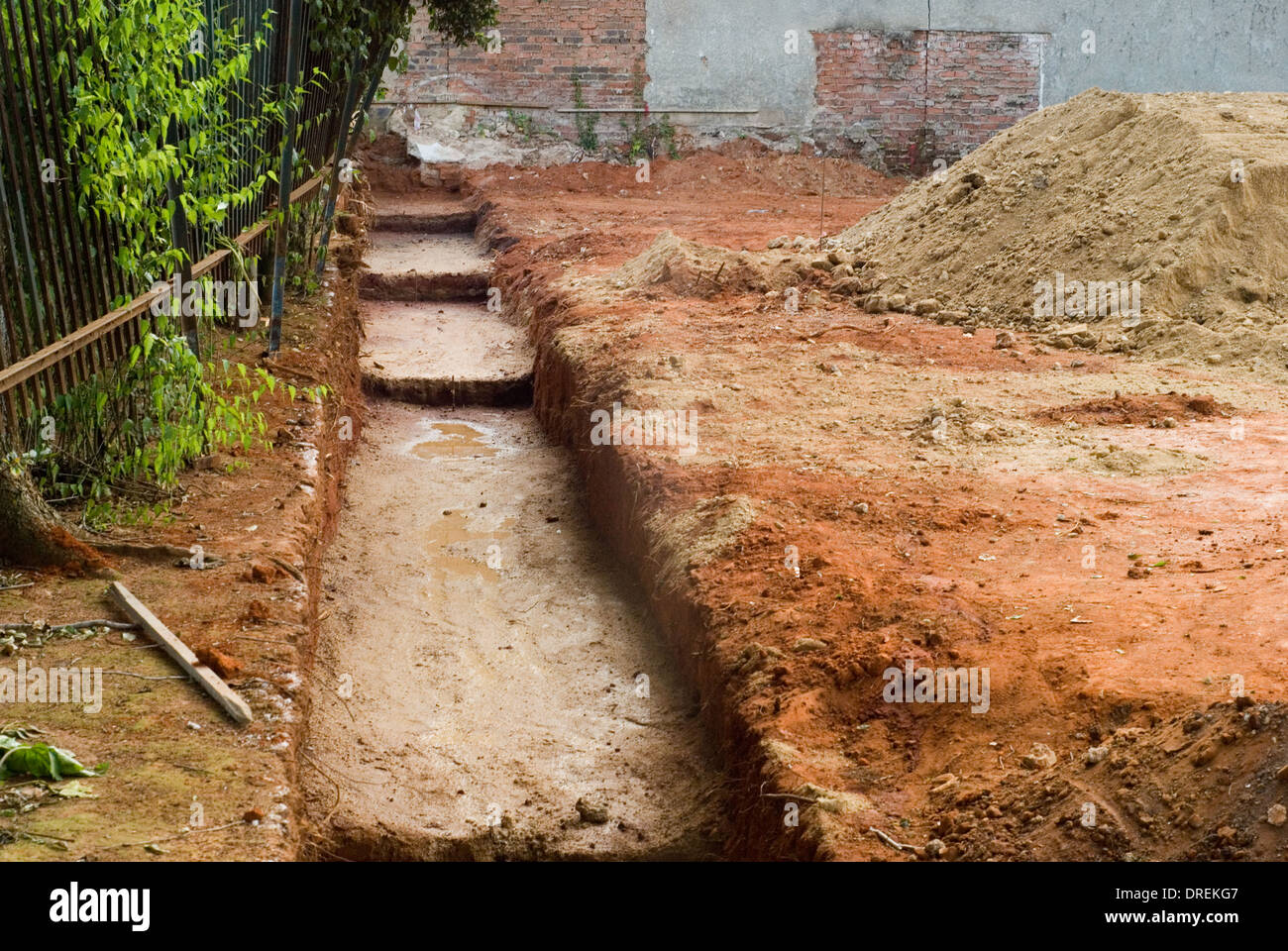 Construction site of a home build digging and preparing for Digging foundation for house