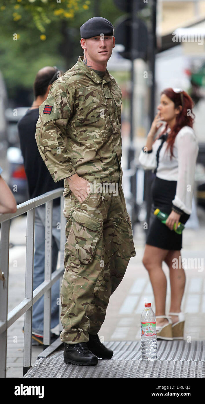 A soldier at the BBC Radio 1 studios who resembles Prince Harry London, England - 30.07.12 - Stock Image