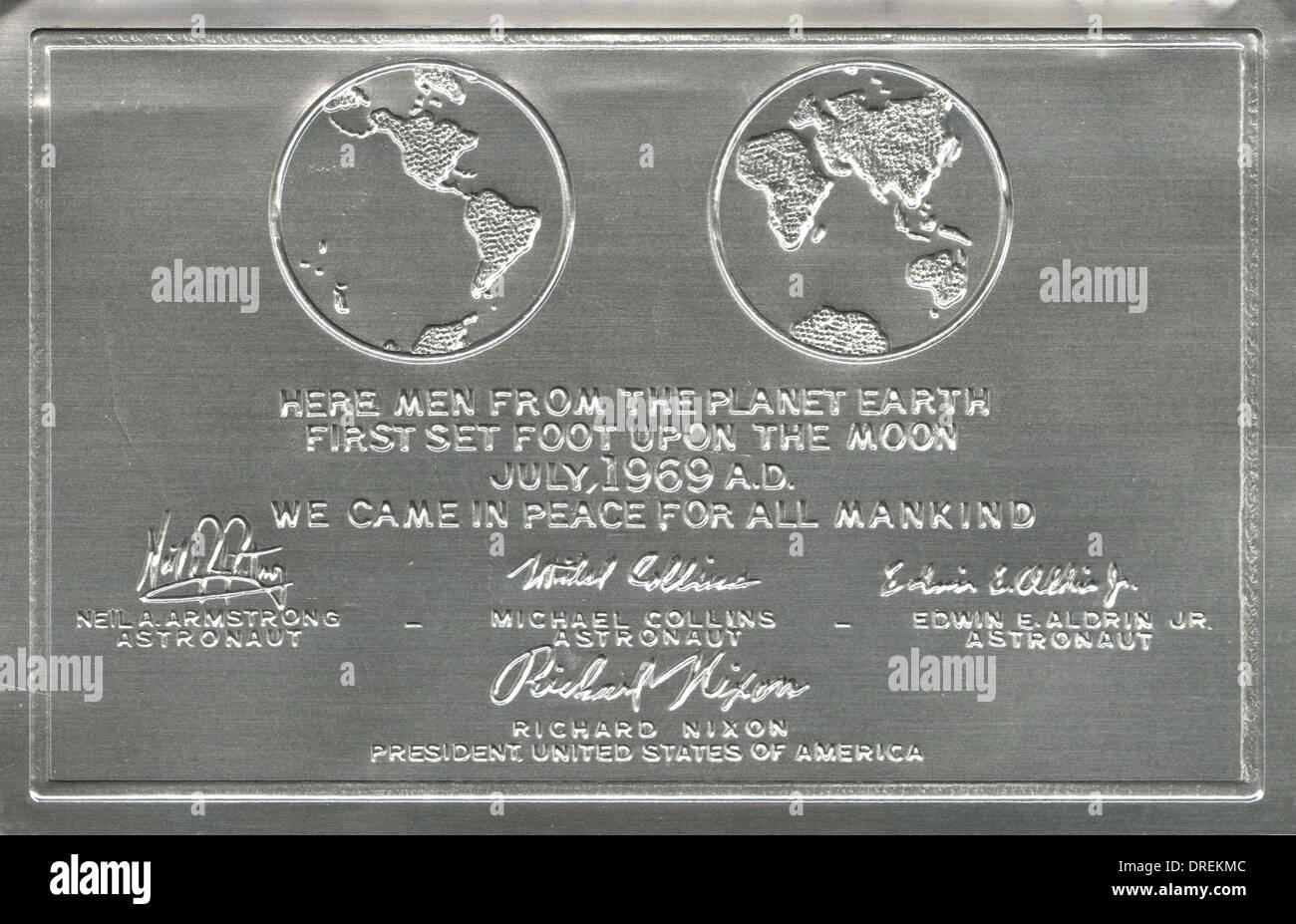Plaque left on the moon by the first visitors - Stock Image