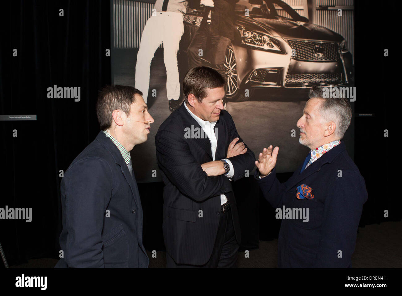 Jonathan Adler, Mark Templin, Simon Doonan Lexus unveils the LS 460 F Sport with a photo Exhibit by Ellen von Unwerth at The Metreon City View San Francisco, California - 30.07.12 - Stock Image
