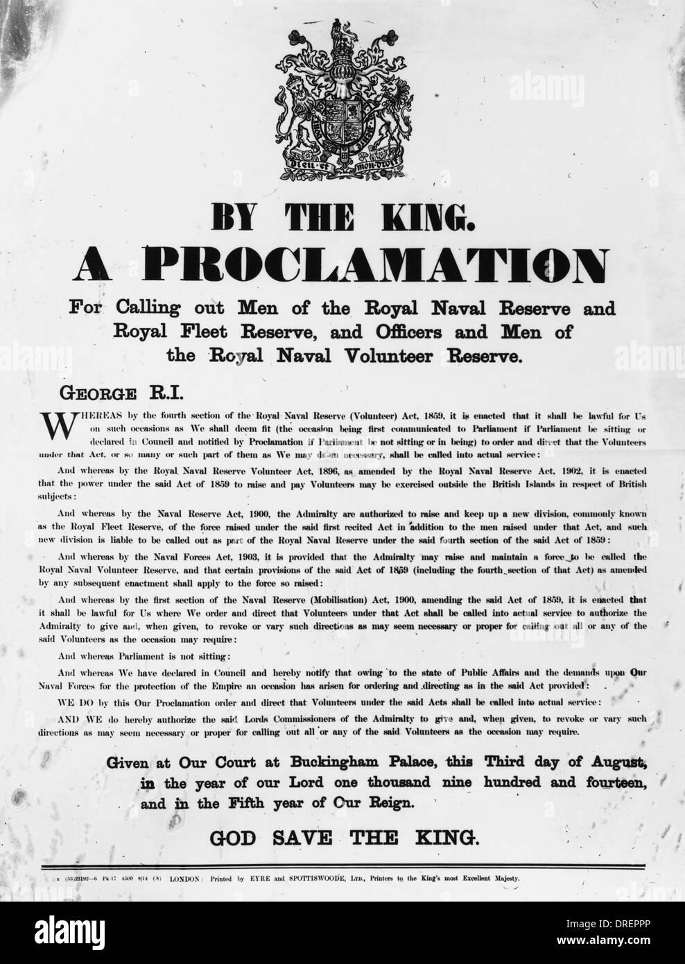 Royal Proclamation 1914 - Stock Image