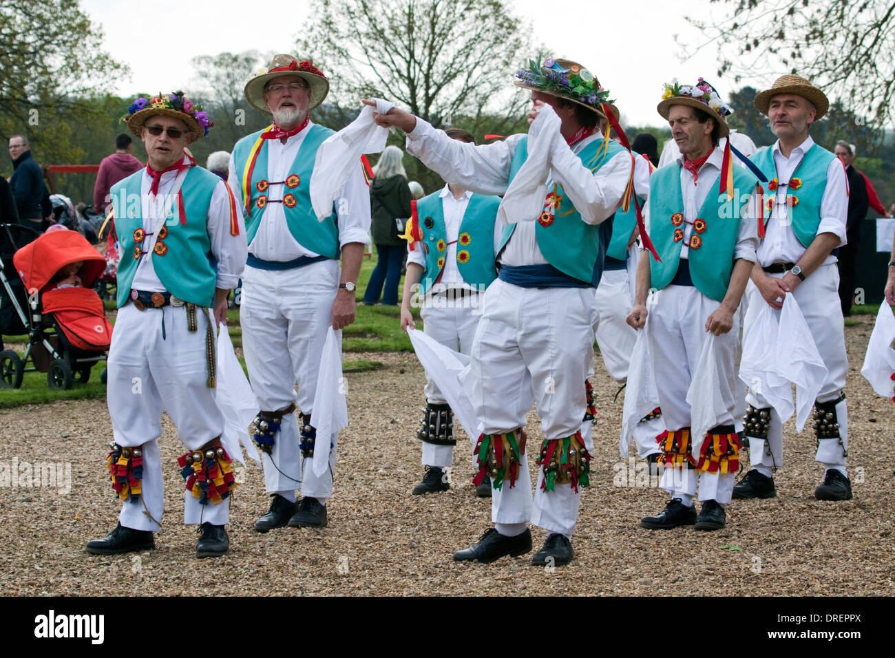 Morris dancing demonstration at Earsham Hall, Bungay - Stock Image