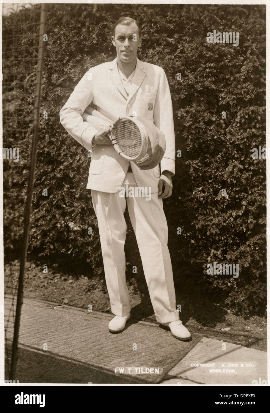 William T Tilden, the American champion of Wimbledon - Stock Image
