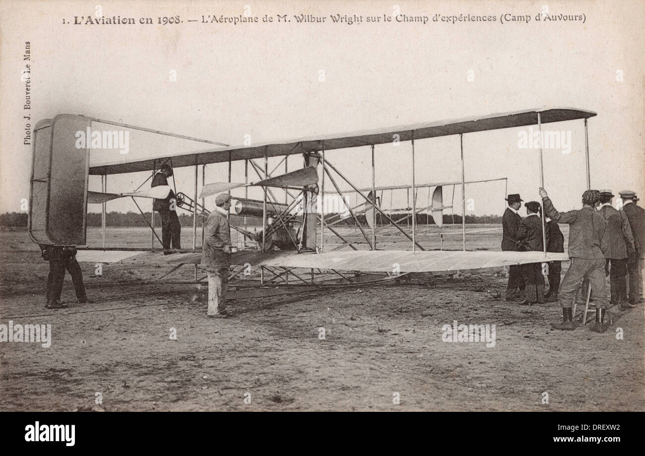 Aviation in 1908, the aeroplane of M. Wilbur Wright Stock Photo