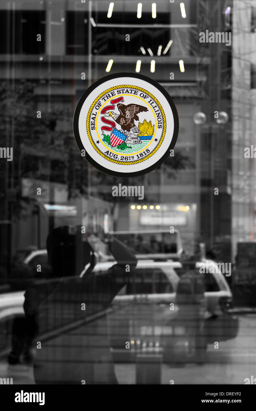 state of Illinois Seal on glass - Stock Image
