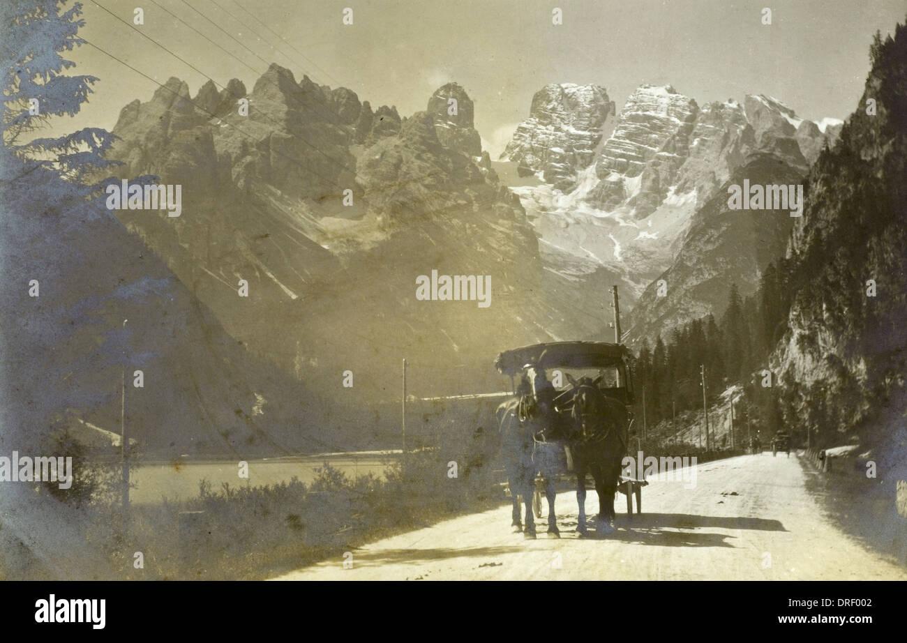Monte Cristallo and Mont Popena - Stock Image