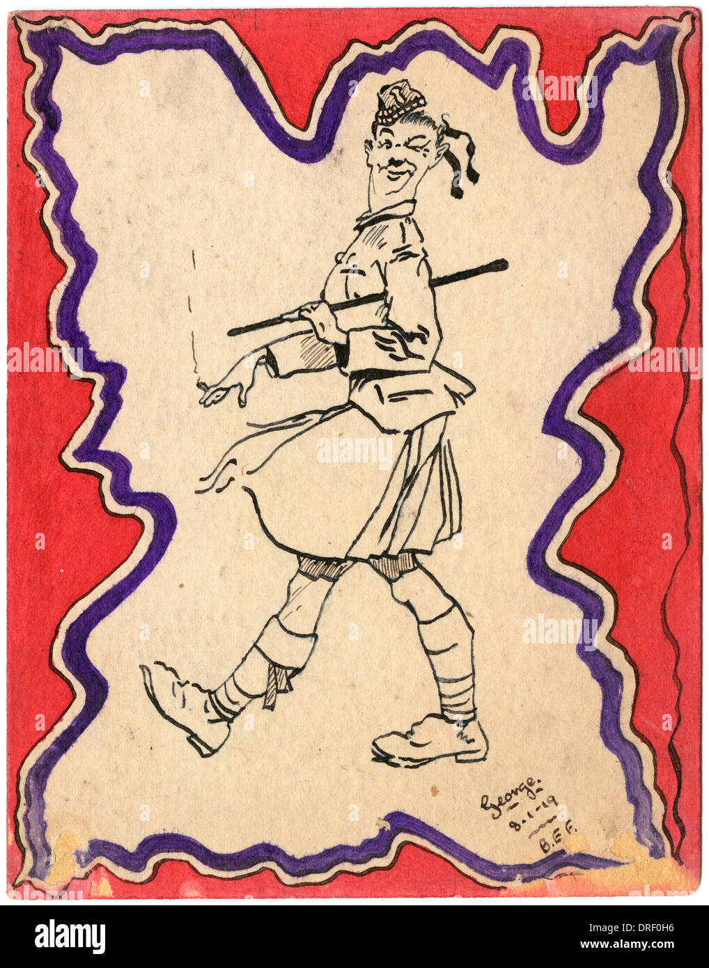 Highland soldier by World War One - Stock Image
