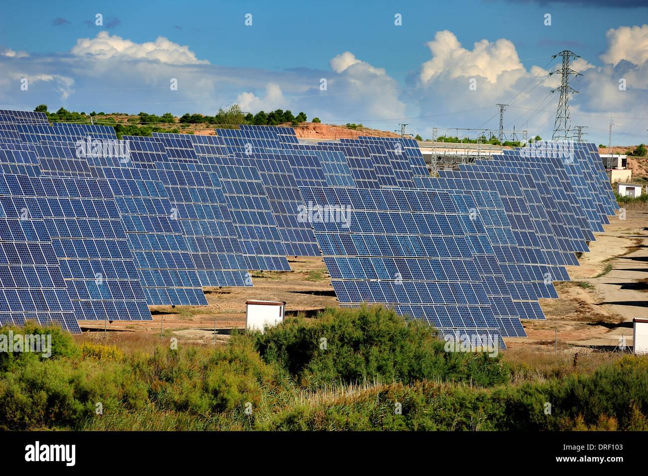 Solar power plant. Rows of photovoltaic arrays, La Rioja, Spain, Europe - Stock Image