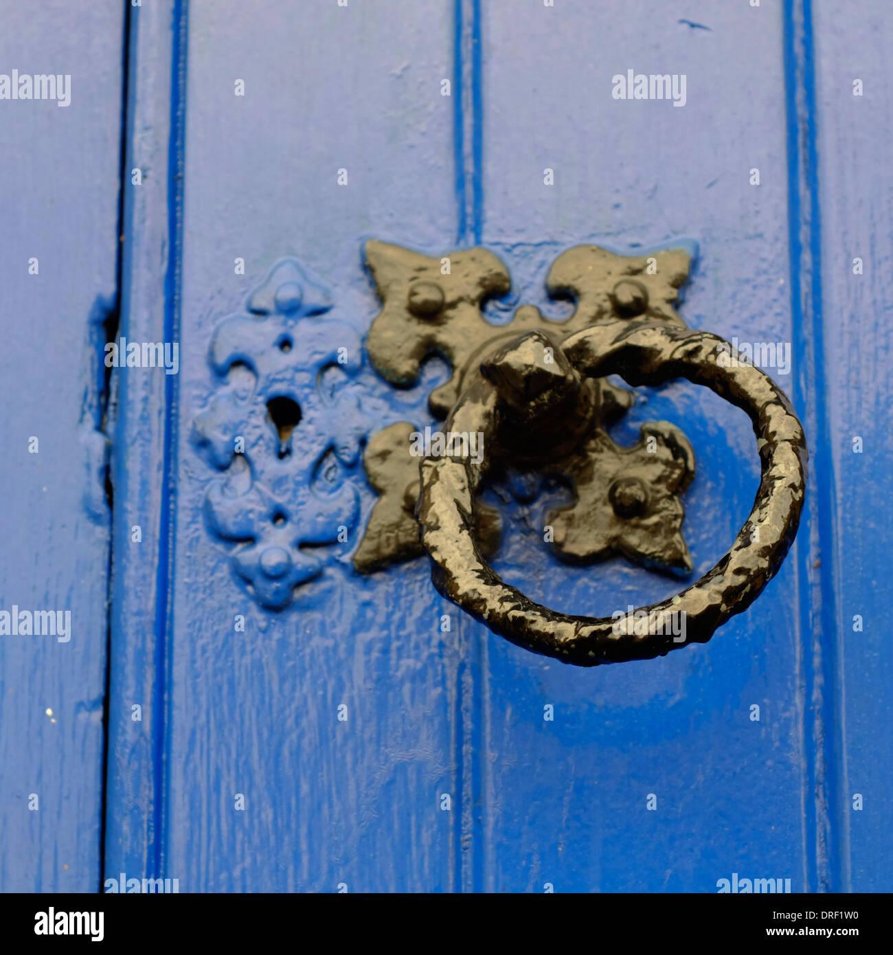 Vintage Door Knocker Handle On A Blue Church Door   Stock Image