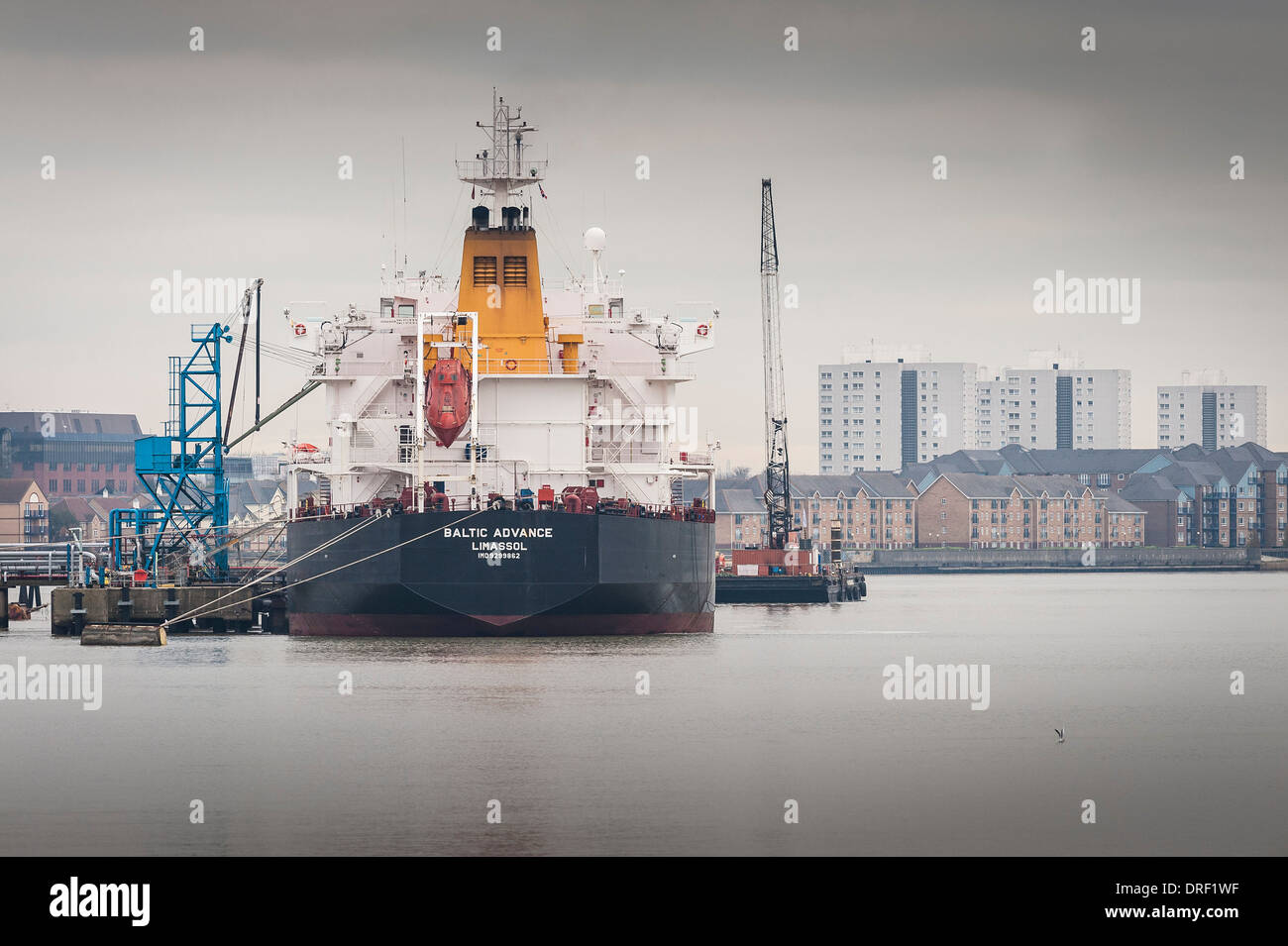 The Oil/Chemical tanker Baltic Advance docked on the River Thames. - Stock Image