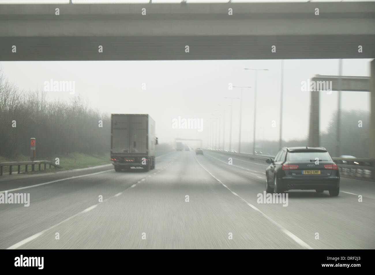 Drivers view from car on motorway, UK - Stock Image
