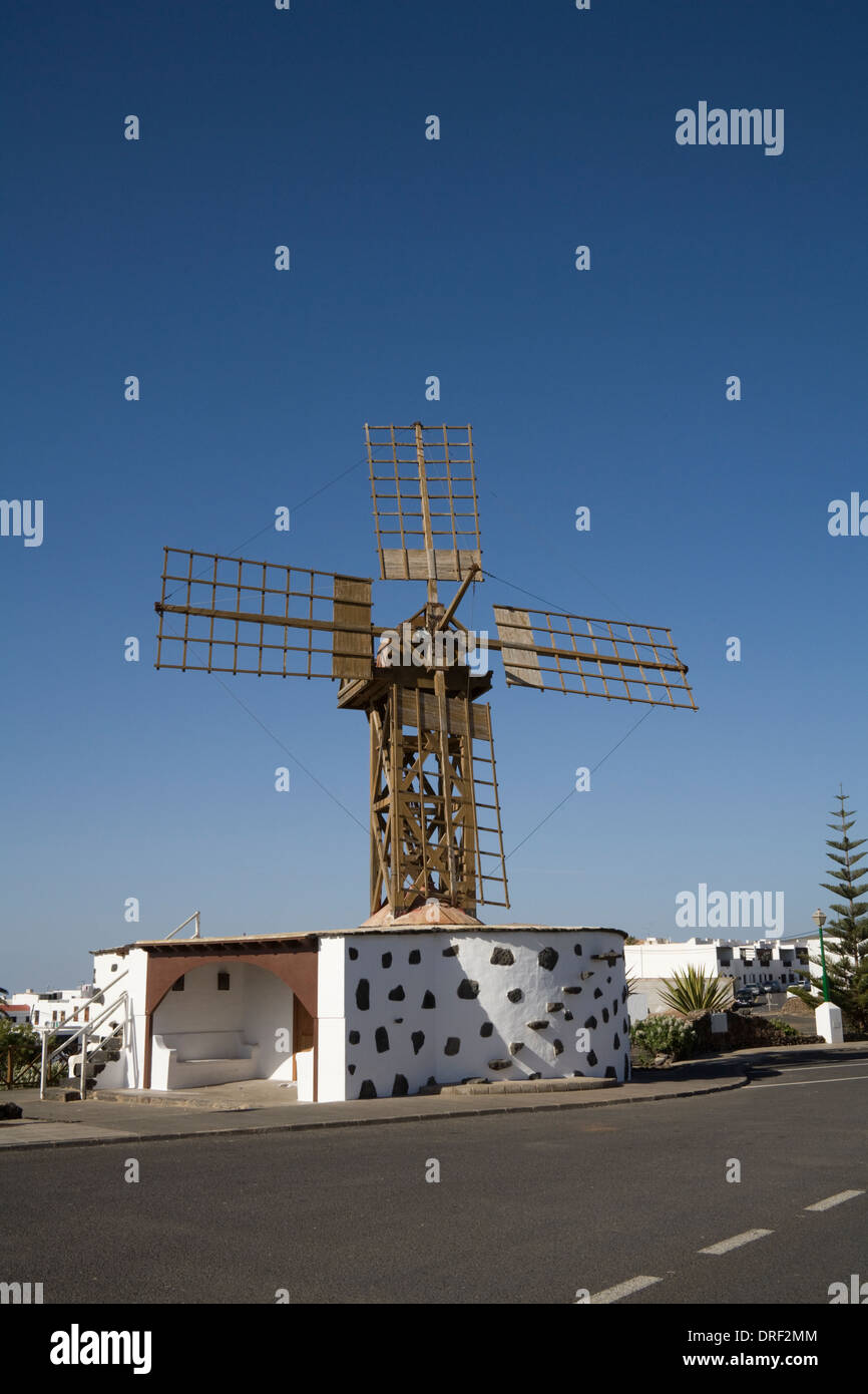 Teguise Lanzarote Canary Islands Traditional wooden windmill in inland village former capital of island - Stock Image