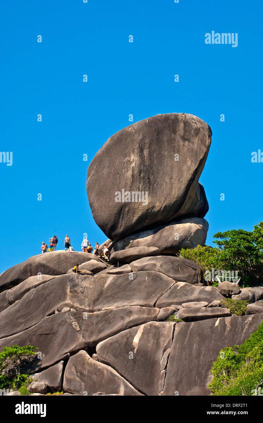 The Sail Rock in the Mu Ko Similan National Park, Ko Similan Islands, Phang Nga Province, Thailand - Stock Image