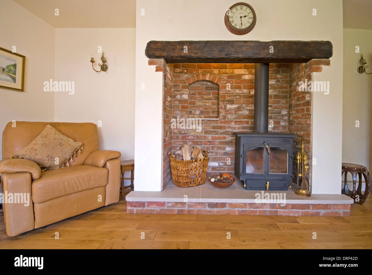 Brick Fireplace With Wood Burning Stove And Leather