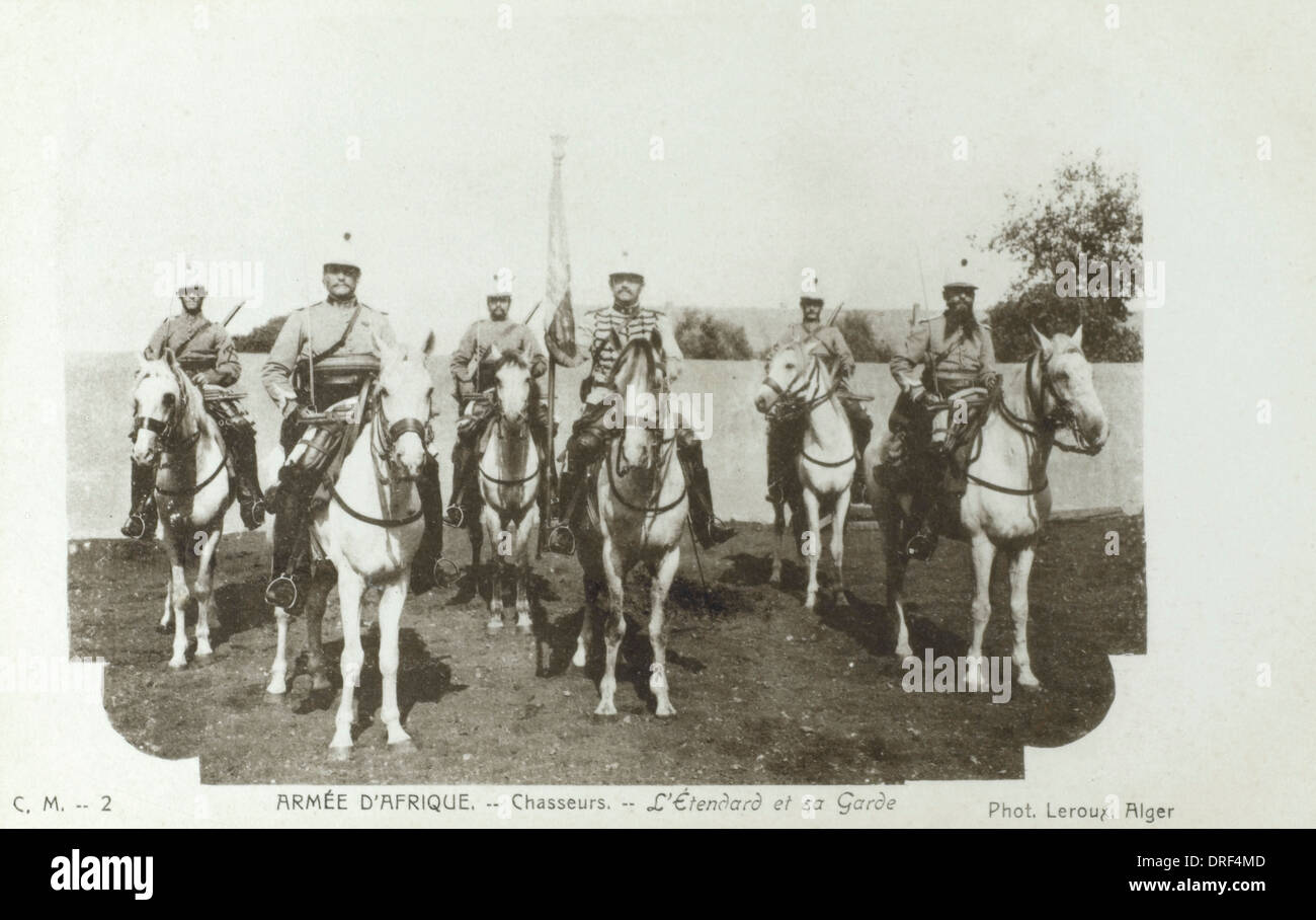 French Army in Africa - Cavalry with Standard - Stock Image
