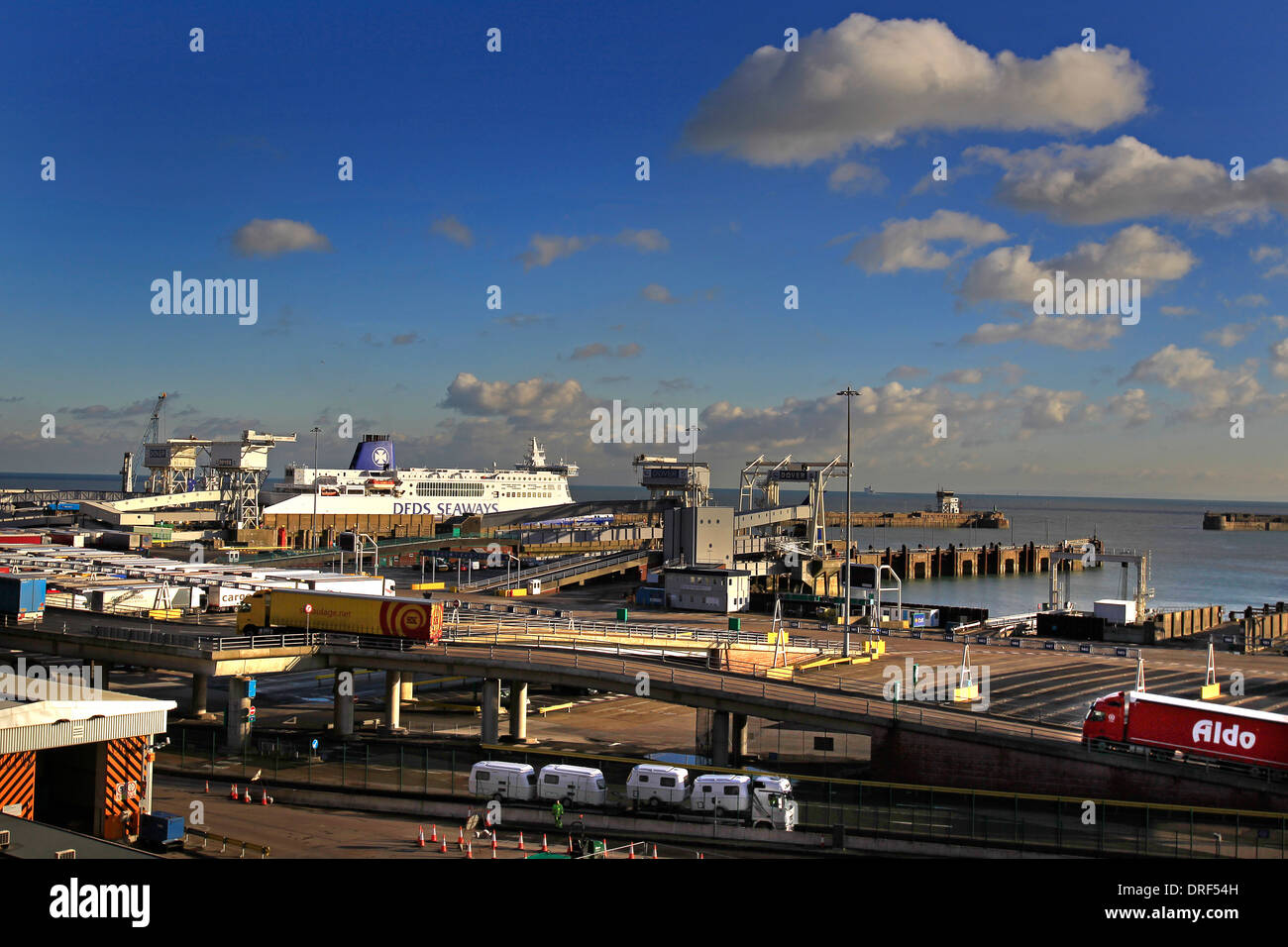 A general view of the Eastern Docks, Port of Dover Ferry Terminal with a ferry in port and lorries disembarking - Stock Image
