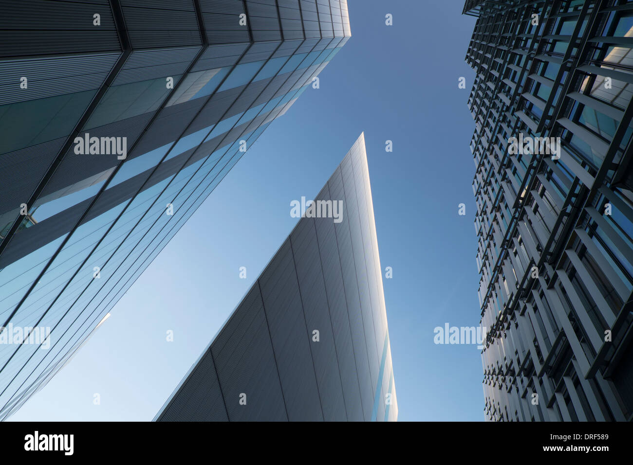 Modern Office building against blue sky, Financial district, London - Stock Image