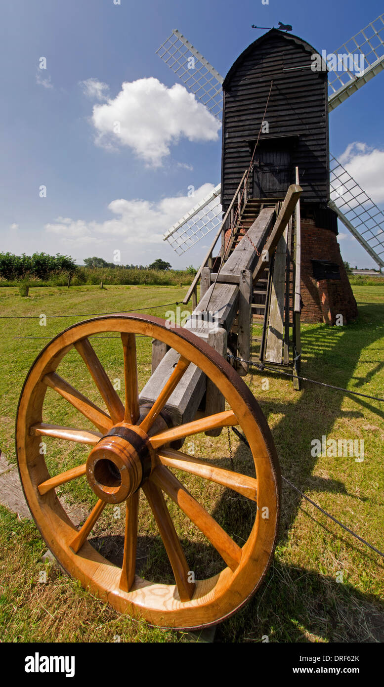 A newly-restored tailwheel enables this Danzey Green post mill to be turned to face the wind. - Stock Image