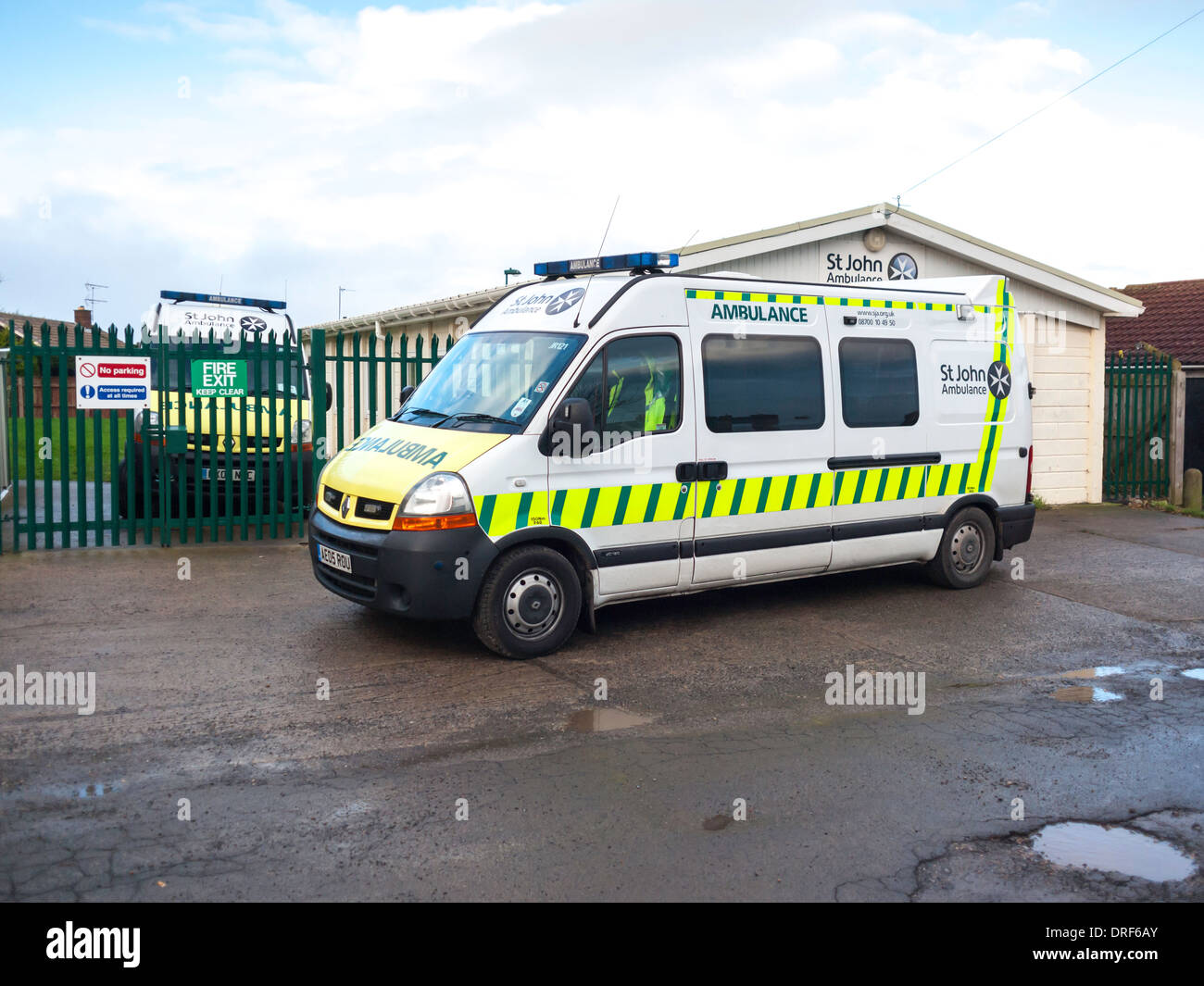 A St John Ambulance outside their hut used for meetings and equipment storage for the UK's Leading first aid - Stock Image