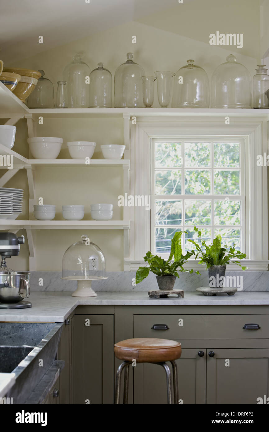 Maryland USA interior traditionally built furnished farmhouse Stock Photo