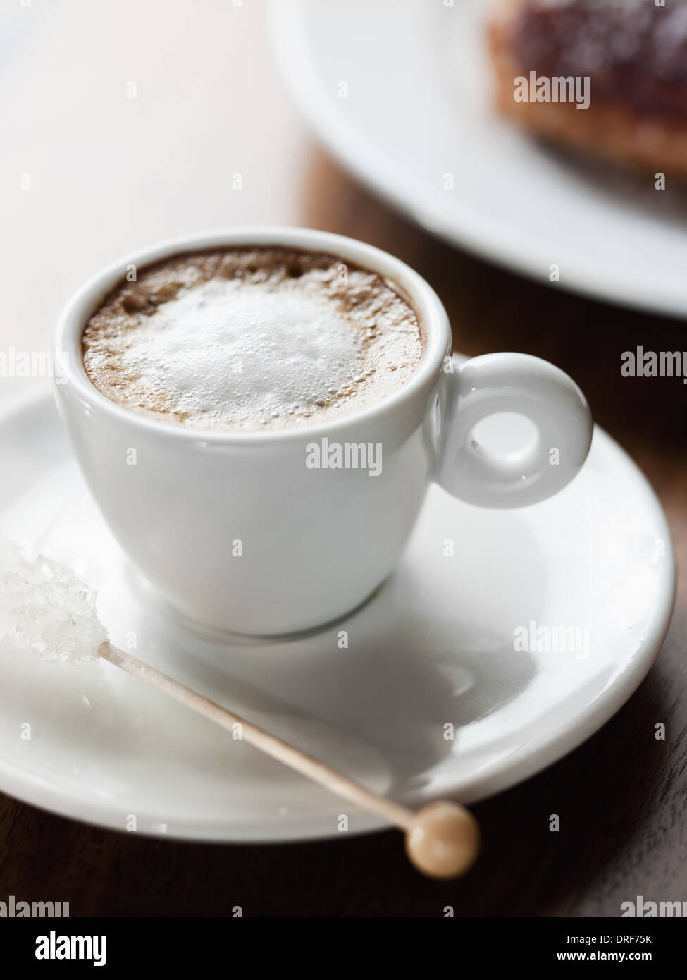 Maryland USA cup of coffee white chincup Frothy coffee drink - Stock Image