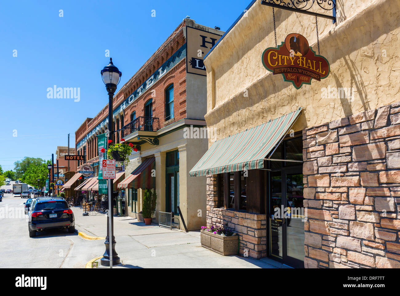 City Hall and Occidental Hotel on Main Street in historic downtown Buffalo, Wyoming, USA - Stock Image