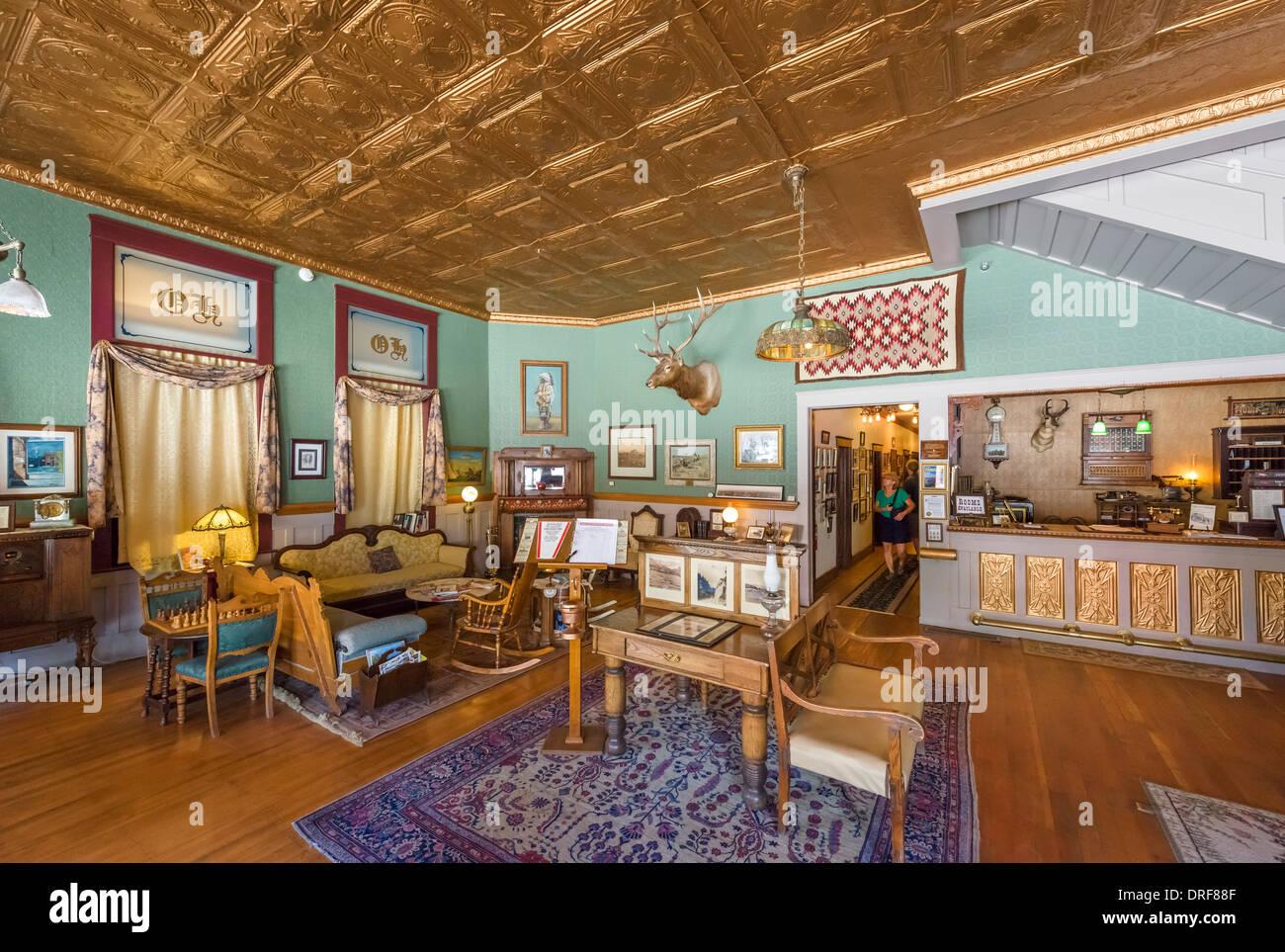 The lobby and museum of the historic Occidental Hotel, Main Street, Buffalo, Wyoming, USA Stock Photo