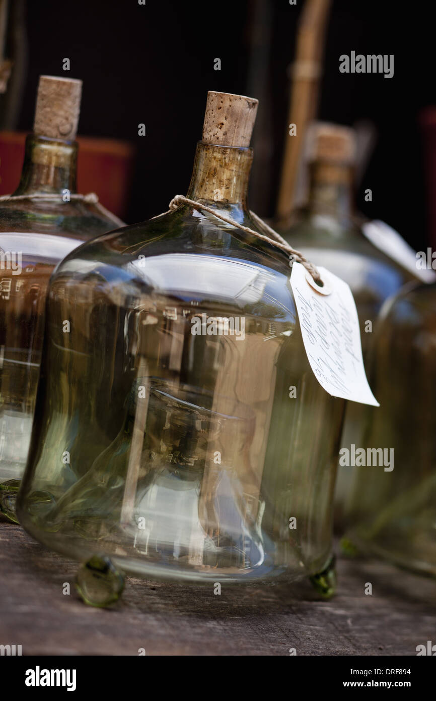 Maryland USA Glass containers with labels on for overwintering - Stock Image
