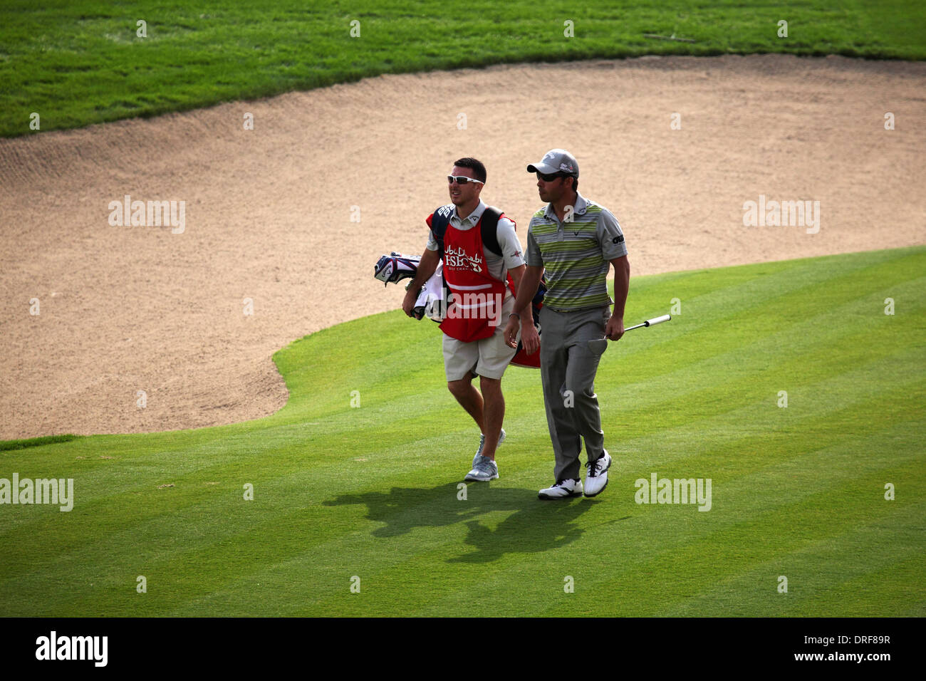 Pablo Larrazabal playing in the 2014 Abu Dhabi HSBC Golf Championship. - Stock Image