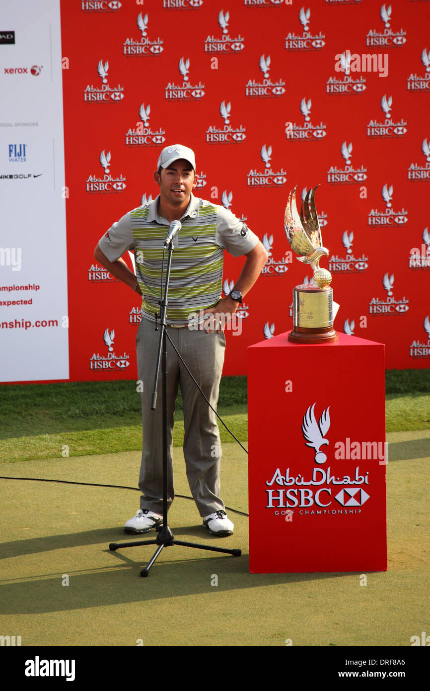 Pablo Larrazabal speaking after winning the 2014 Abu Dhabi HSBC Golf Championship. - Stock Image